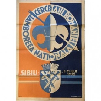 Plakat Cercetasii Romaniei- Jamboreea Nationala, Sibiu Romaia, 1932.